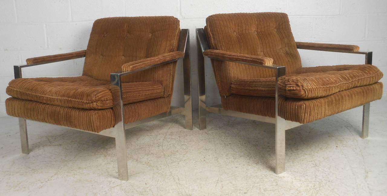 American Vintage Modern Chrome Lounge Chairs by Cy Mann For Sale