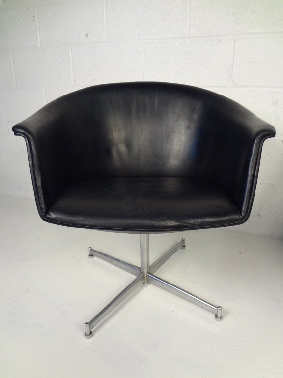 Pair Of 60s Vintage Danish Swivel Chairs By Kastholm At