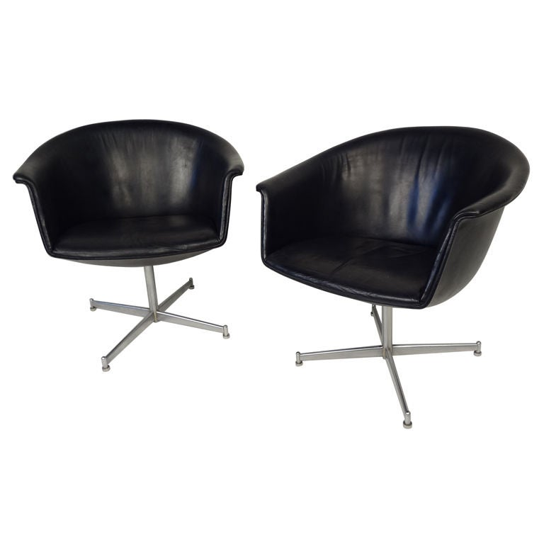 pair of 60s vintage danish swivel chairs by kastholm at 1stdibs