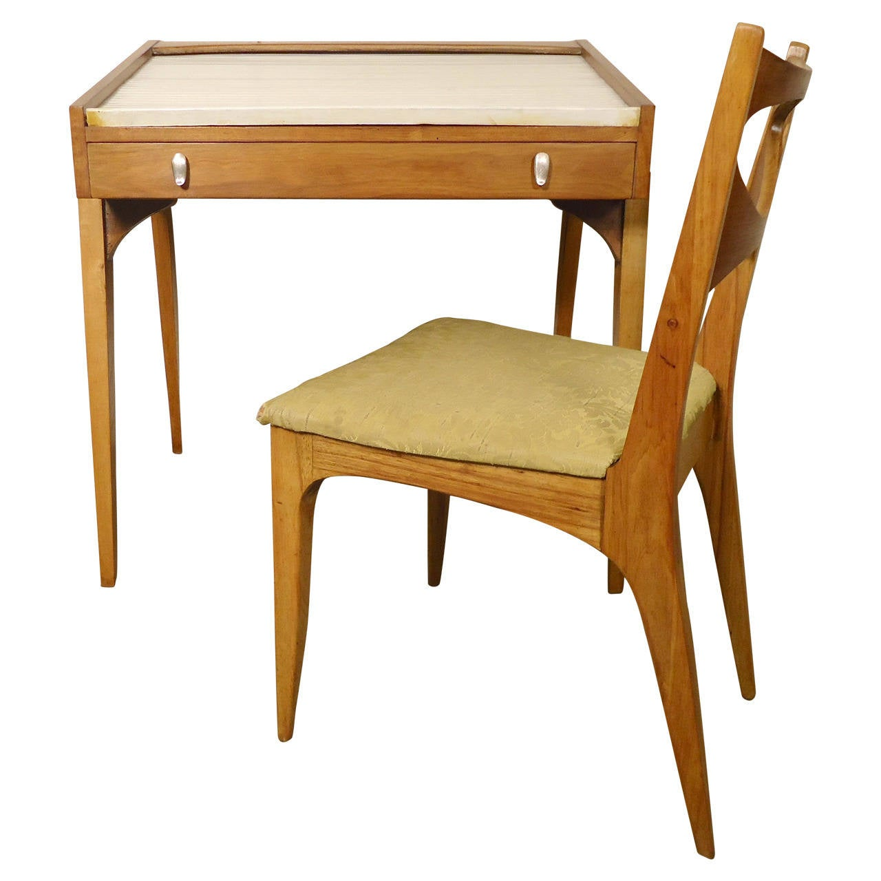 Vintage Roll Top Desk With Beautifully Sculpted Teak Body And Brass Trim  Designed By Drexel,