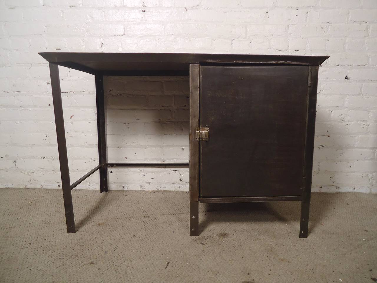 Unusual industrial metal desk with storage for sale at 1stdibs for Unusual writing desks