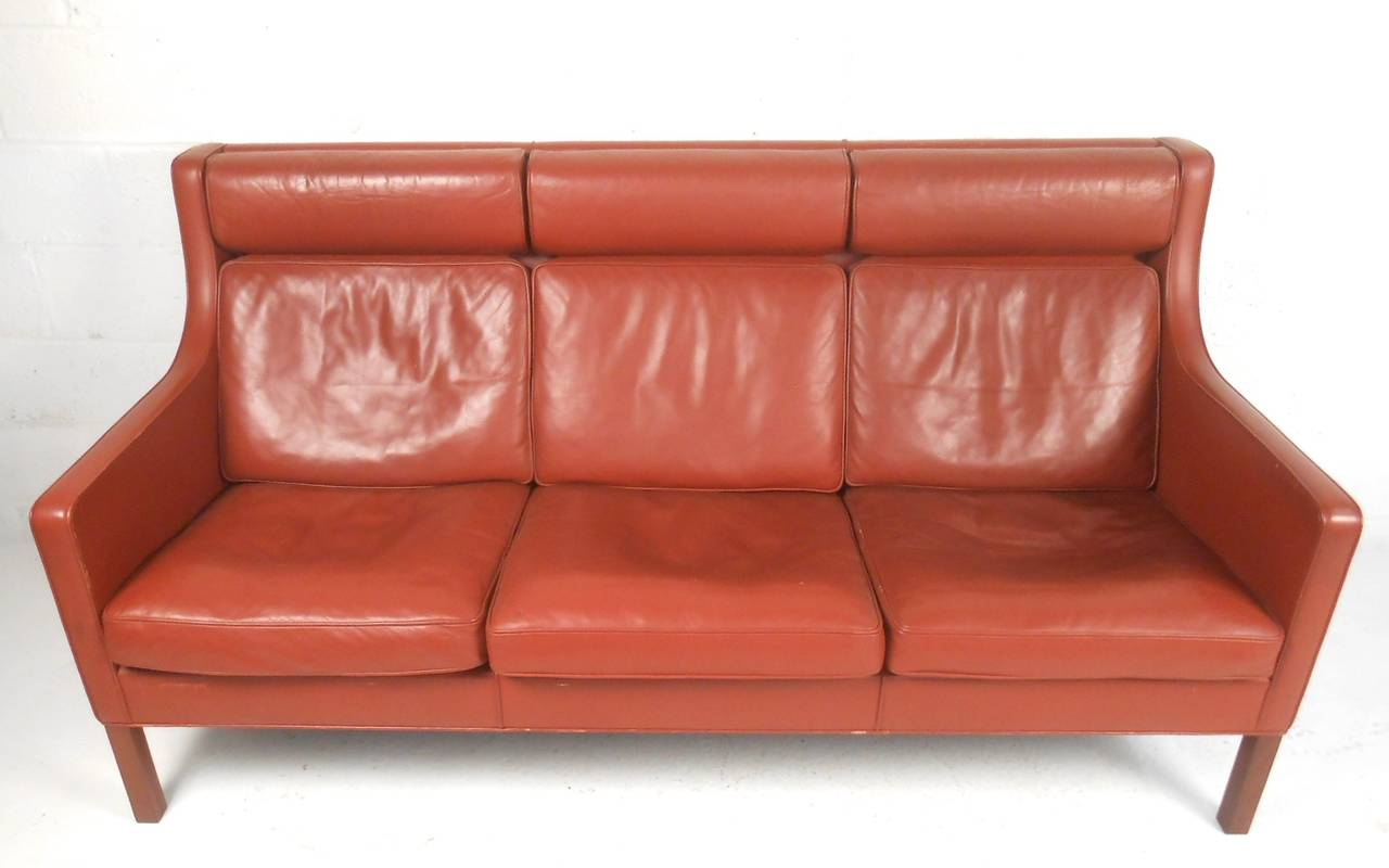 Mid-Century Modern Børge Mogensen Leather Sofa For Sale