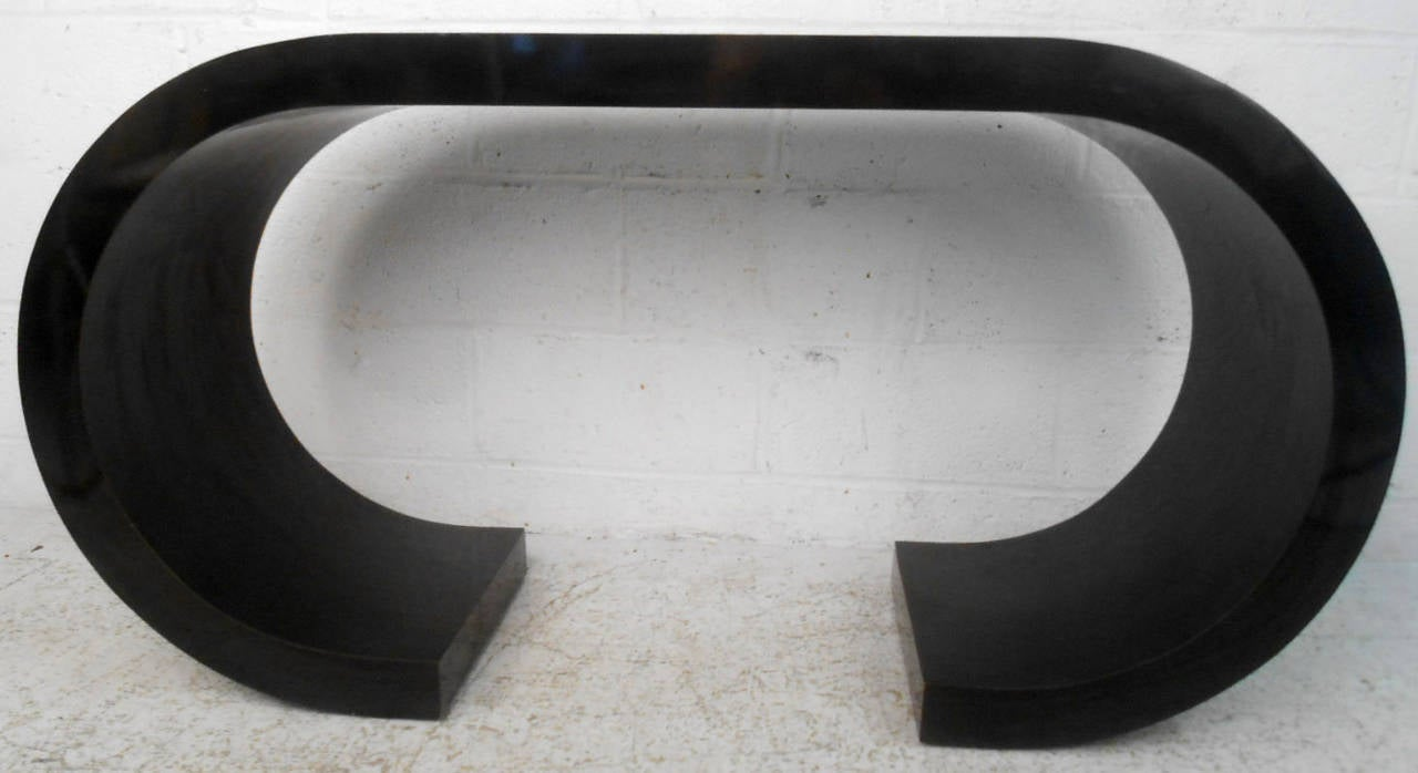 Mid-Century Black Waterfall Style Console Table by Karl Springer 6