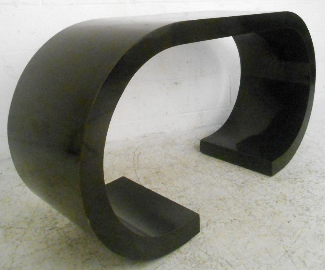 Mid-Century Modern Mid-Century Black Waterfall Style Console Table by Karl Springer For Sale