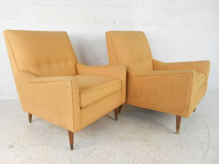 Pair Of Mid Century Modern Armchairs By Rowe At 1stdibs