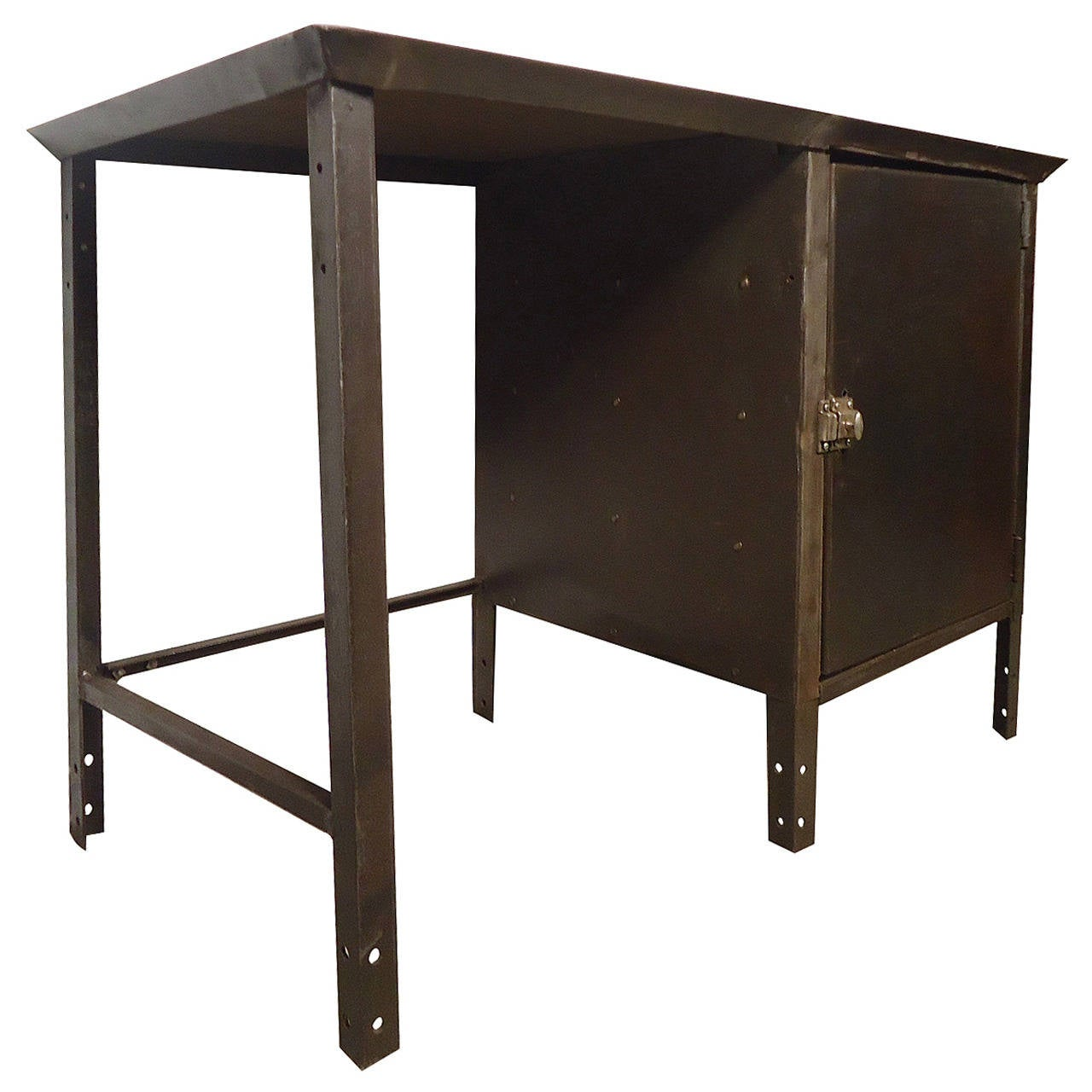 Unusual Industrial Metal Desk with Storage
