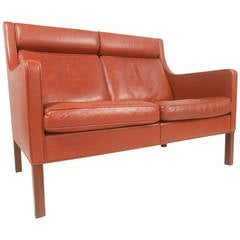 Mid-Century Modern Leather Fredericia Loveseat by Borge Mogensen
