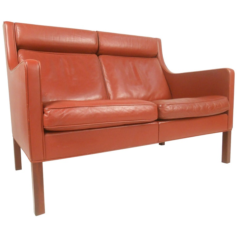 Vintage Modern Borge Mogensen Leather Loveseat Sofa