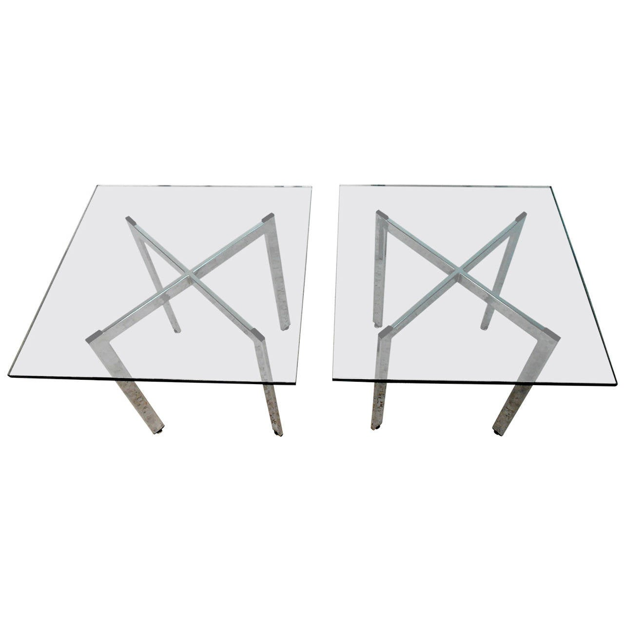 Pair of Mid-Century Milo Baughman Style Chrome and Glass Side Tables