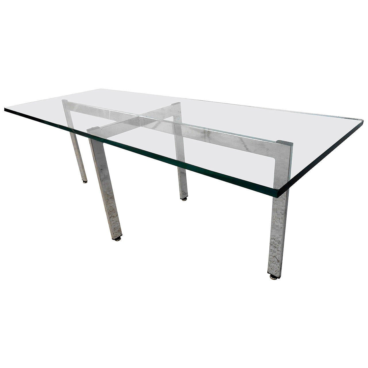 Mid Century Rectangular Chrome And Glass Coffee Table For Sale At 1stdibs