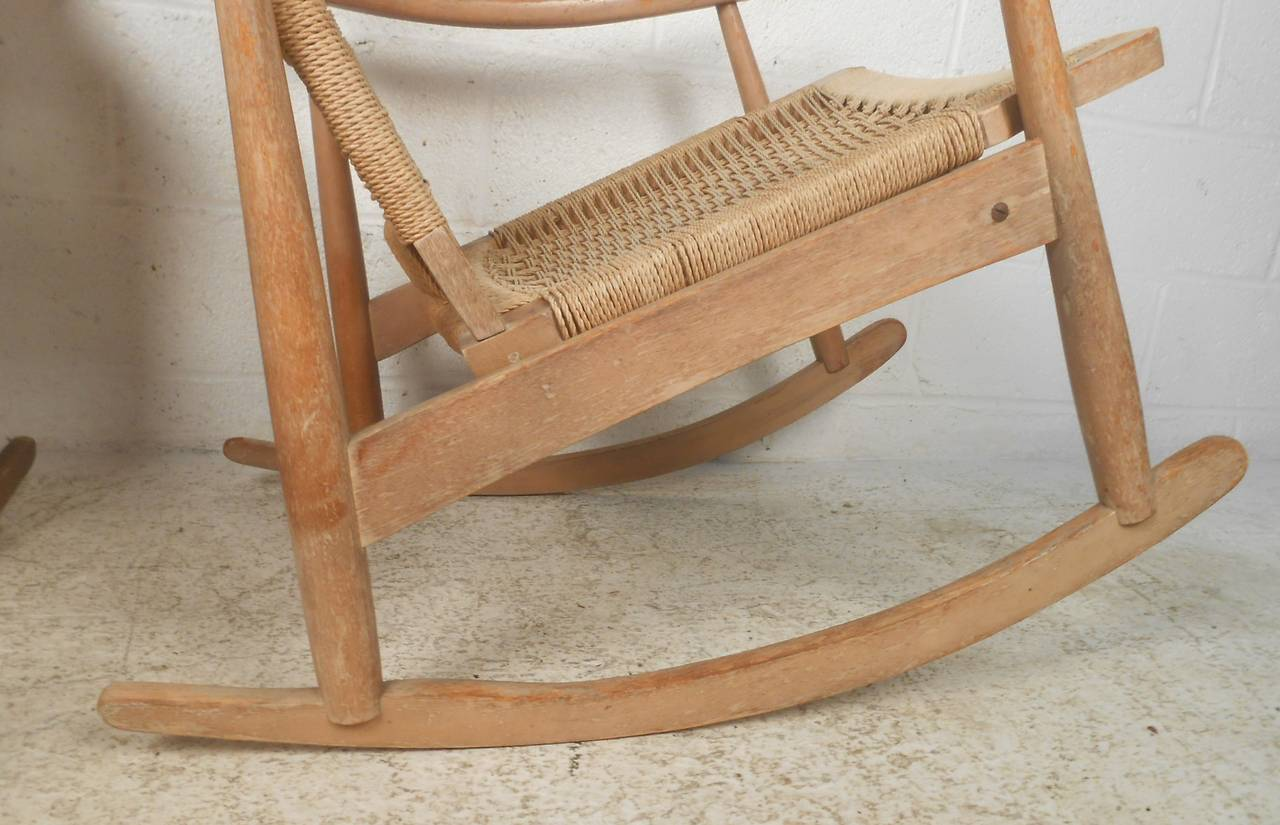 Mid-Century Modern Wegner Style Rocking Chairs For Sale at 1stdibs