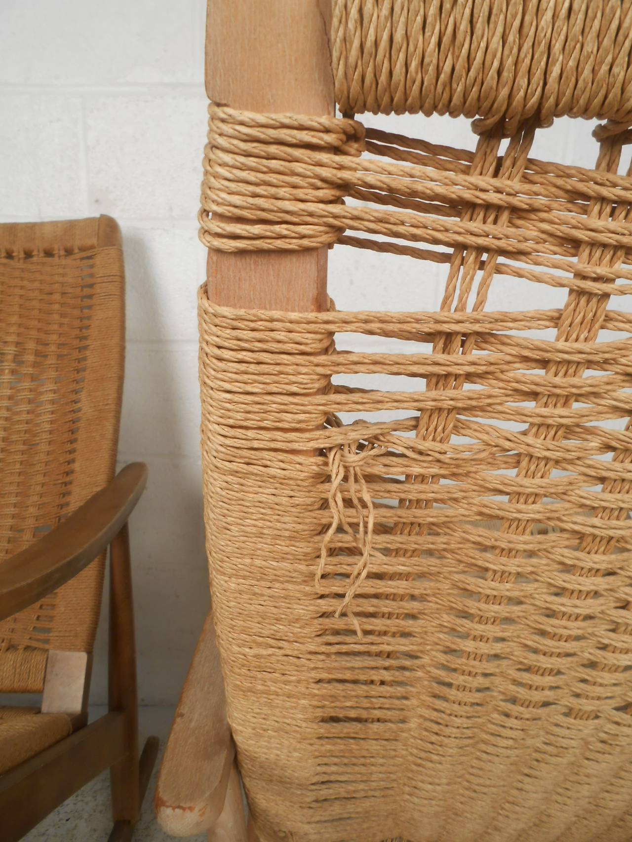 Pair of Vintage Rope Seat Rocking Chairs For Sale 1