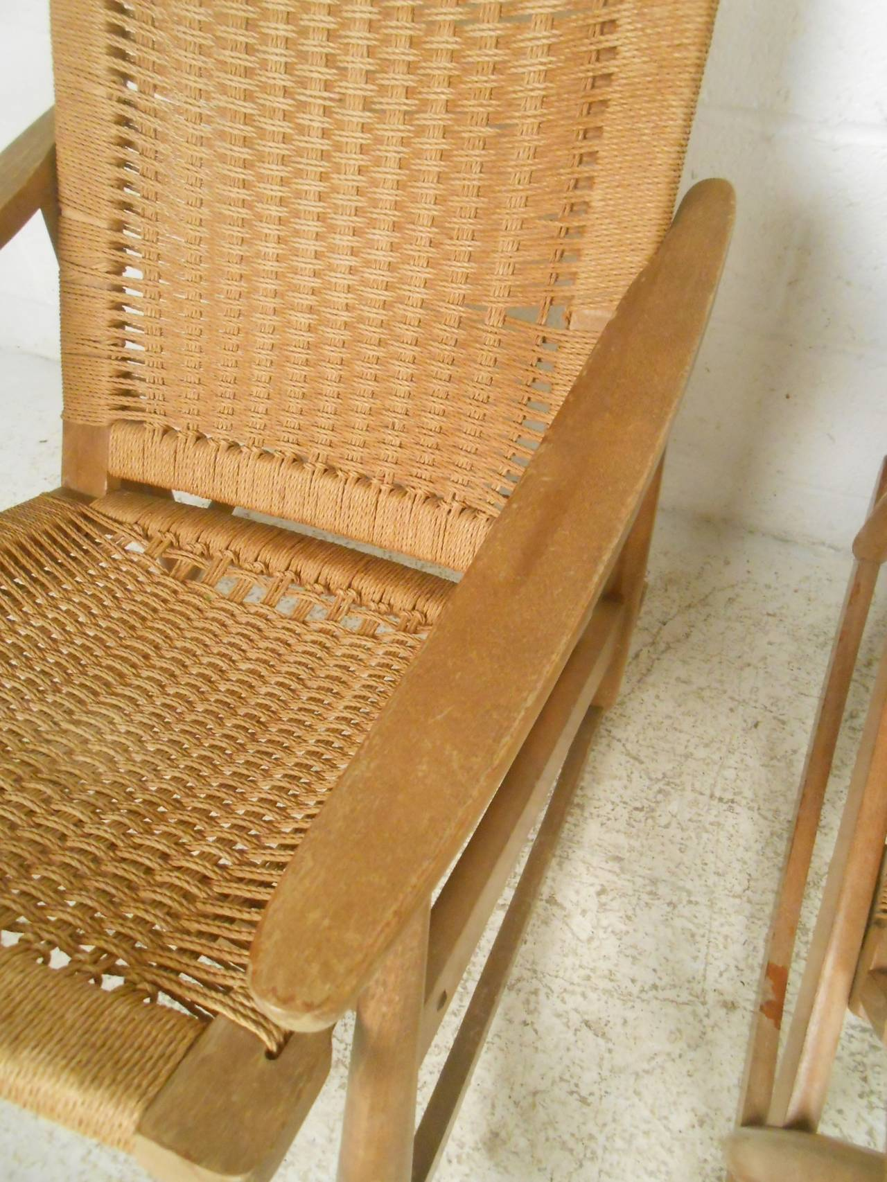 Mid-20th Century Pair of Vintage Rope Seat Rocking Chairs For Sale