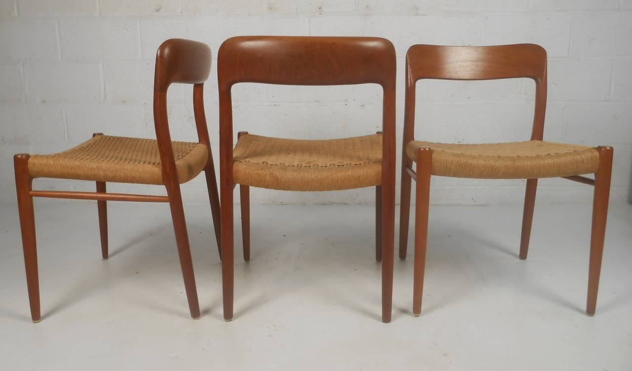 Set of six teak dining chairs with danish cord seats by n o moller danish furniture