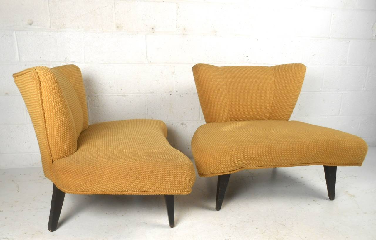 This Beautiful Vintage Pair Of Slipper Chairs Features A Wonderful Design Aesthetic And Quality Covering