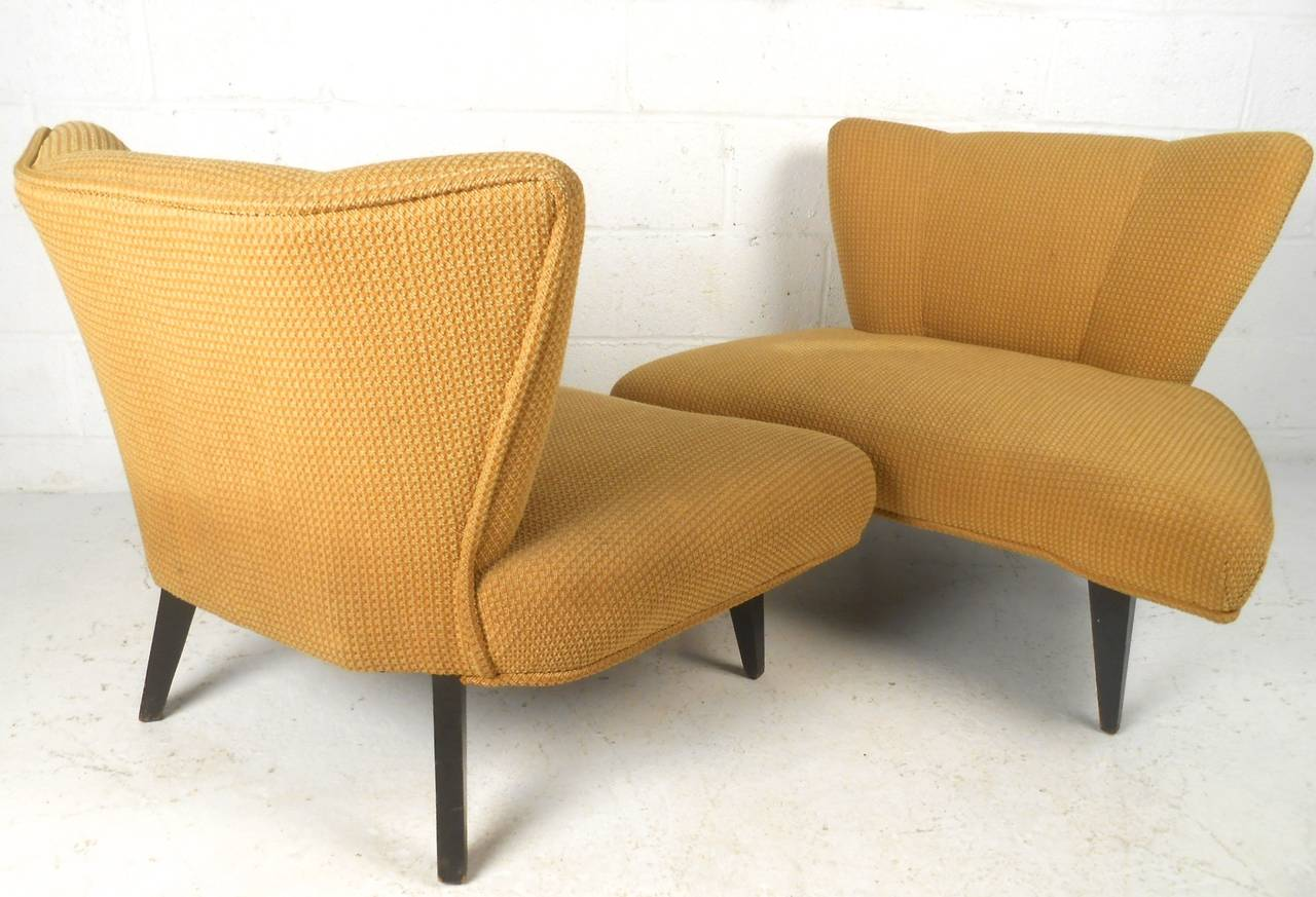 Pair of Mid Century Slipper Chairs Attributed to Kroehler