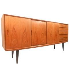 Tall Scandinavian Modern Danish Teak Sideboard