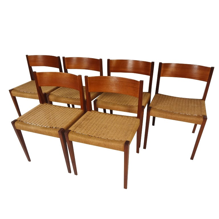 Set Of Six Poul Cadovius Teak Pia Chairs At 1stdibs