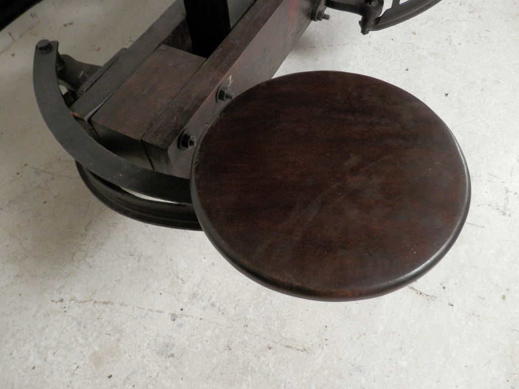 Impressive Industrial Metal Iron Table W Six Swing Out