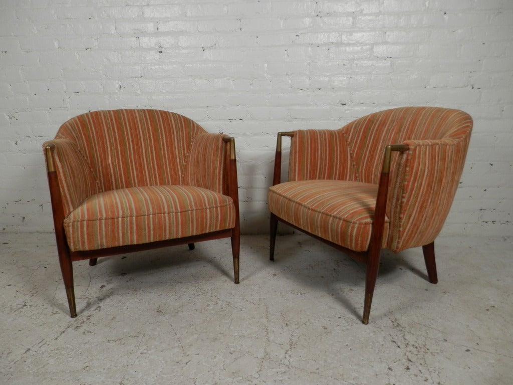 Beautiful Vintage Round Back Upholstered Club Chairs 2