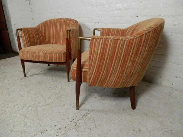 Beautiful Vintage Round Back Upholstered Club Chairs 3