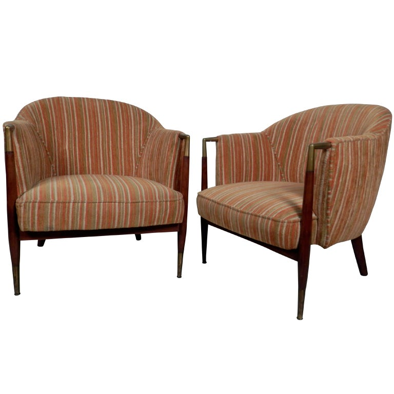 Beautiful Vintage Round Back Upholstered Club Chairs At