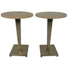 Stainless and Travertine Pedestal Tables