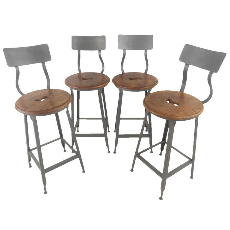Pair Industrial Counter Stools At 1stdibs