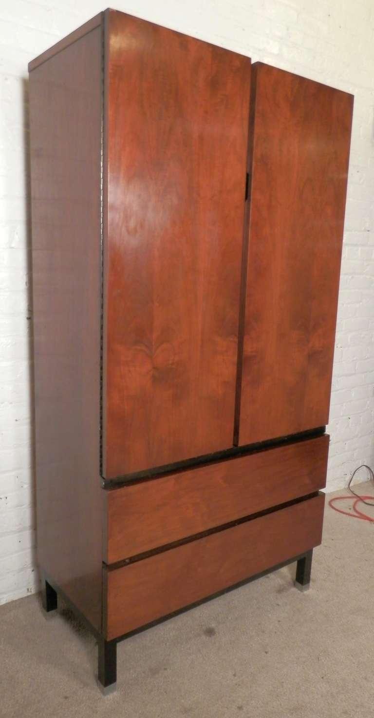 Sleek Mid Century Modern Armoire Style Dresser By