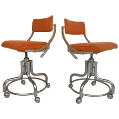 Pair of Midcentury Rolling Chairs by Domore