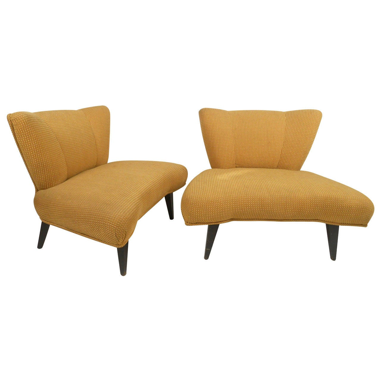 pair of mid century slipper chairs attributed to kroehler - Kroehler Furniture