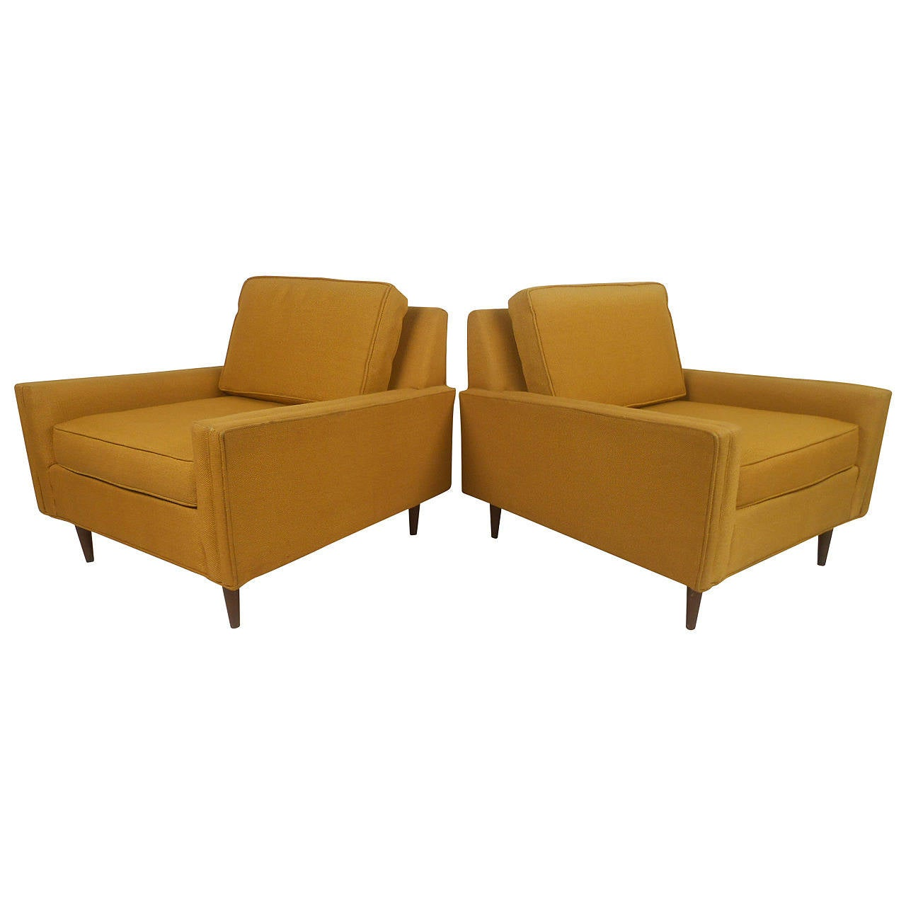 Stylish Pair of Mid Century Modern Lounge Chairs by Selig Monroe at 1stdibs