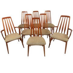 "Mid-Century Modern Danish Teak ""Eva"" Dining Chairs for Hornslet by Niels Koefoed"