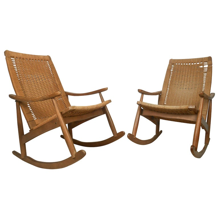 Pair of Vintage Rope Seat Rocking Chairs For Sale