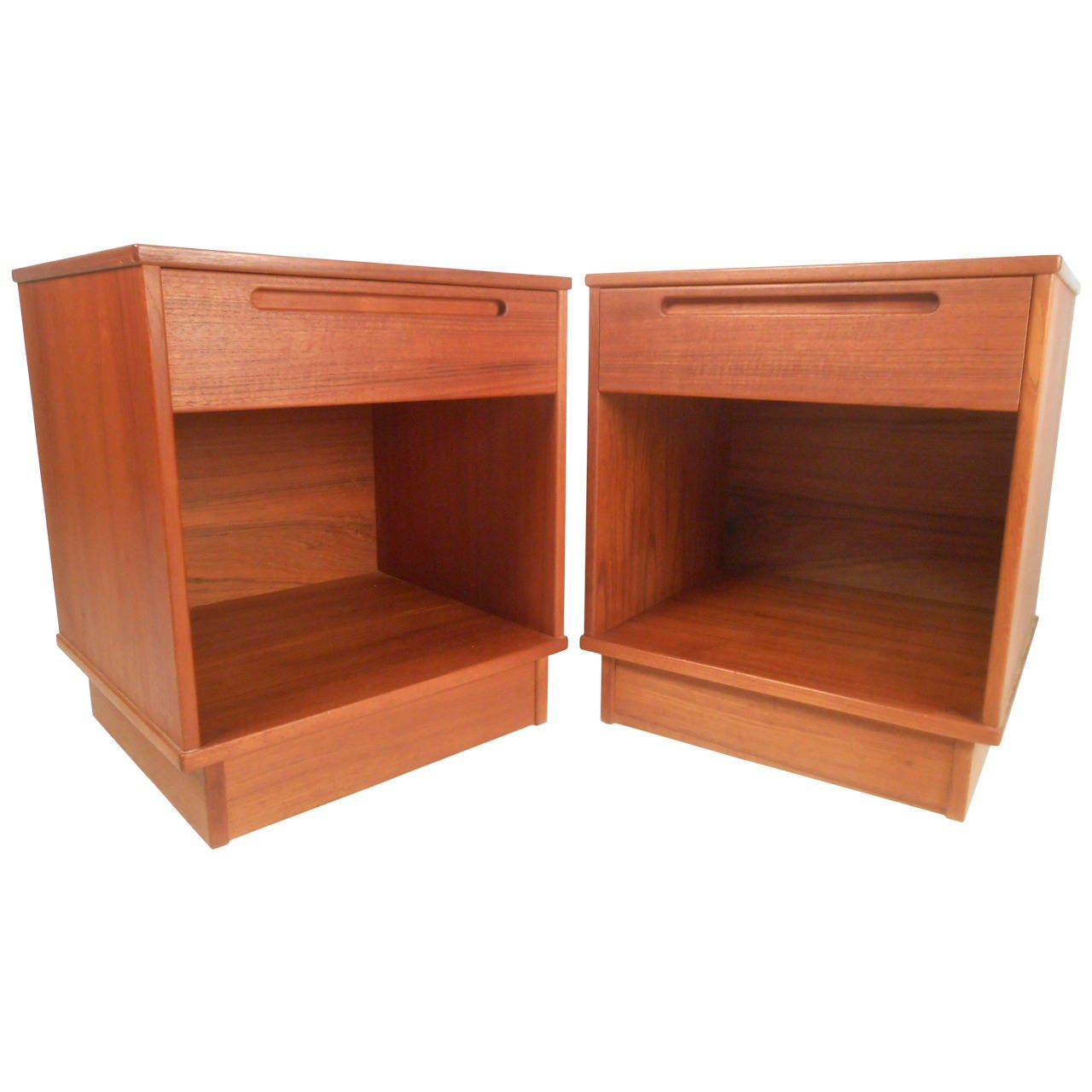 Midcentury style danish teak single drawer nightstands for sale at 1stdibs for Danish teak bedroom furniture