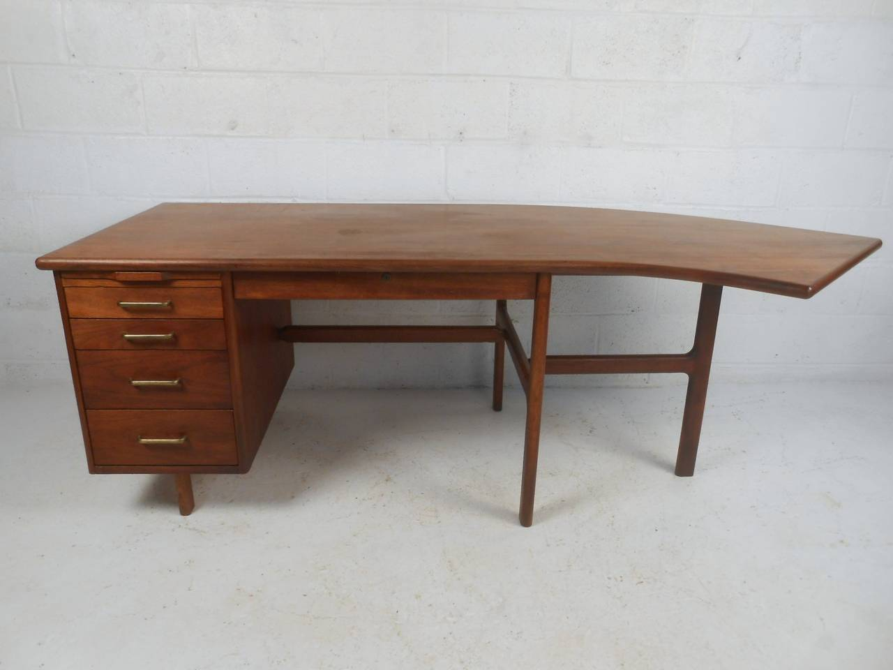 Mid Century Modern Unique Walnut Curved Executive Desk For
