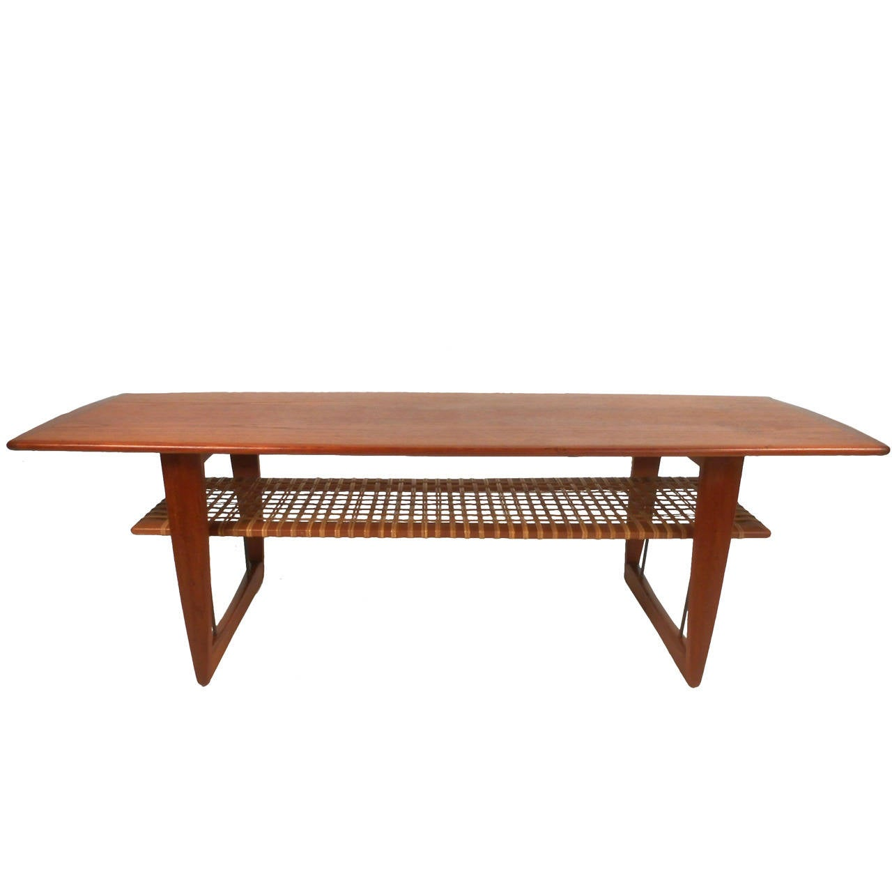 Mid Century Danish Teak Cane Shelf Coffee Table In The Style Of Peter Hvidt For Sale At 1stdibs