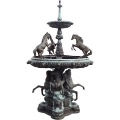 Impressive Bronze Two-Tier Horse Fountain for Garden Display