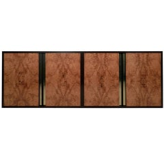 Mid-Century Modern Burl Wood Floating Wall Credenza