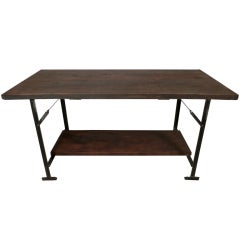 Cast Iron Industrial Wood Top Table
