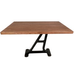 Industrial Metal Iron Base Table With Butcher Block Top