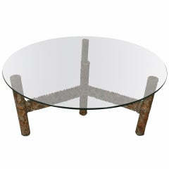 Round Glass Top Coffee Table by Silas Seandel