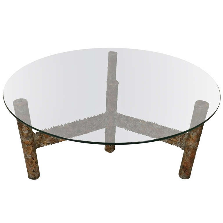 Round glass top coffee table by silas seandel at 1stdibs for 13 inch round glass table top