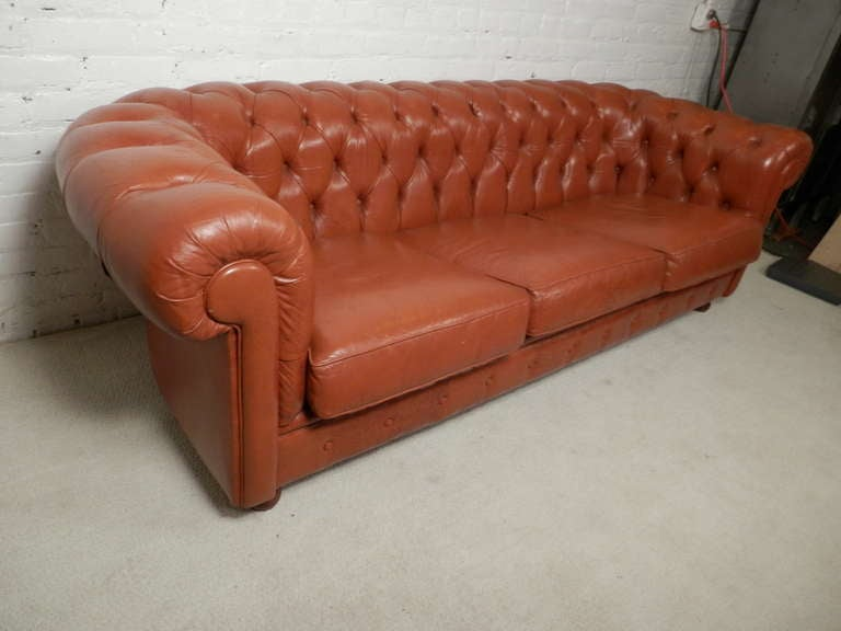 Tan Mid Century Chesterfield Tufted Sofa at 1stdibs