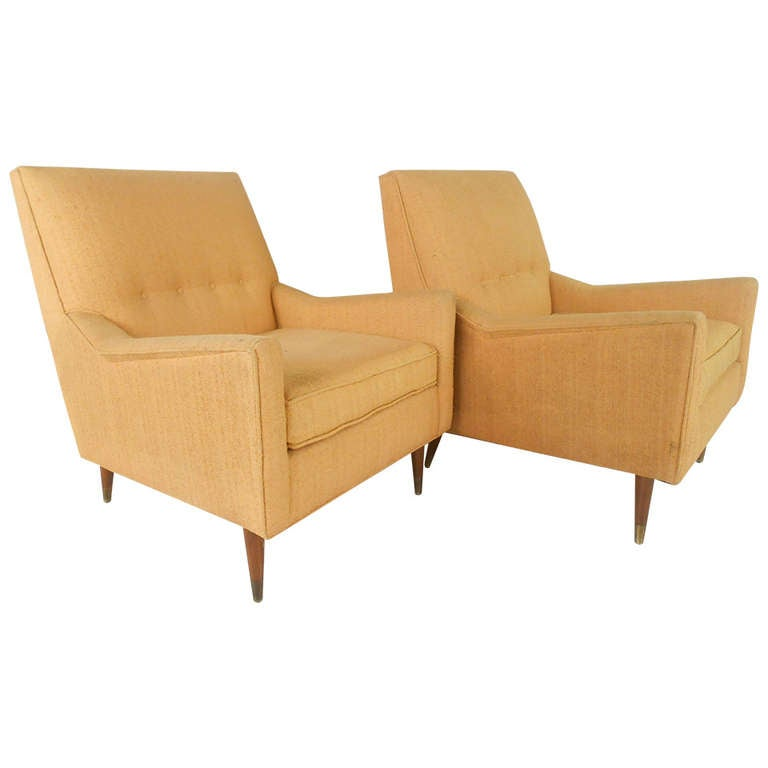 Pair of mid century modern armchairs by rowe at 1stdibs for Mid century modern armchairs