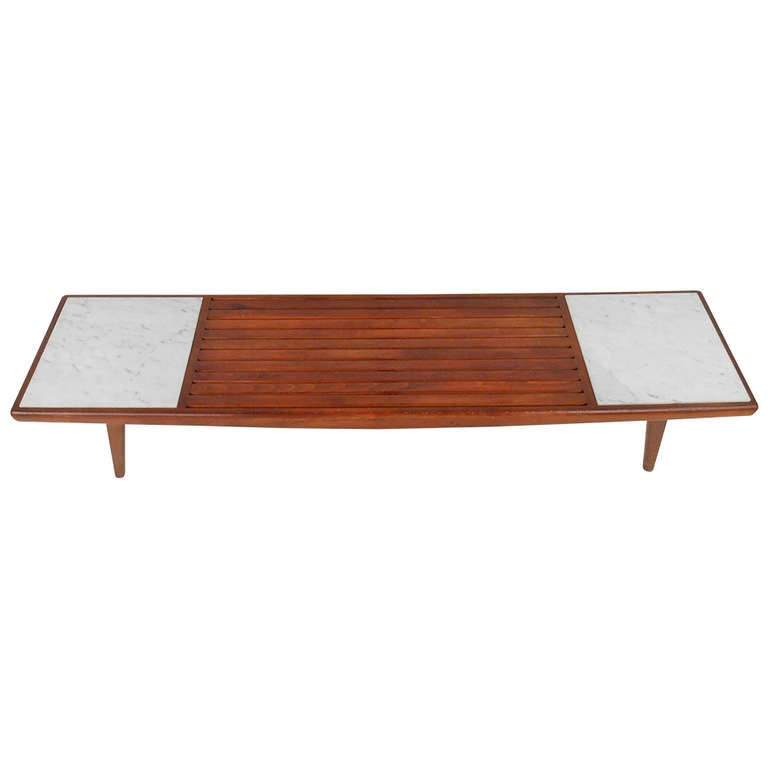 Pearsall Style Wood Slat And Marble Cocktail Table At 1stdibs