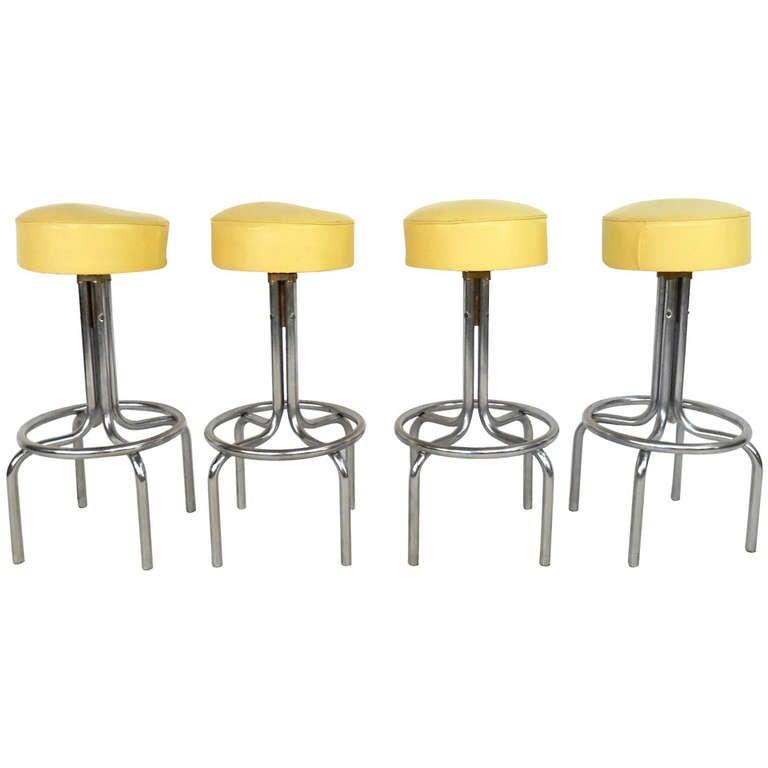 Mid century modern vinyl and chrome counter bar stools at 1stdibs