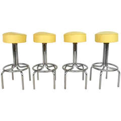 Set of Vintage Mid-Century Modern Vinyl and Chrome Counter Bar Stools