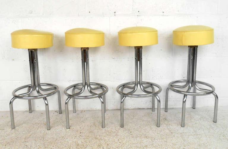 Vintage mid century modern vinyl and chrome counter bar stools image 2