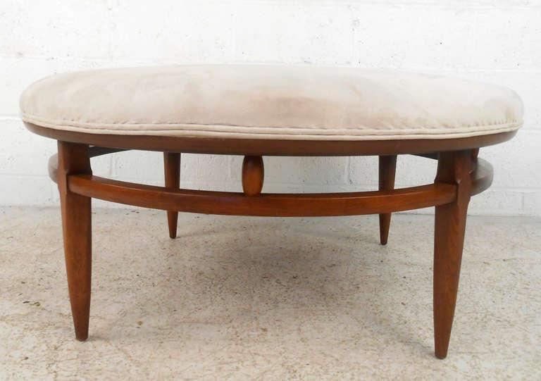 Vintage Mid Century Modern Suede Ottoman By Lane Furniture